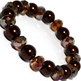 Stretch Bracelet Crystal Smooth Bead Dark Brown AB SBR220