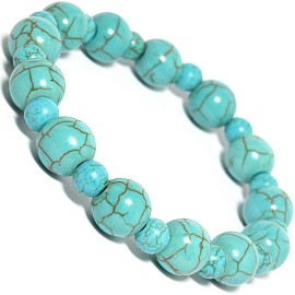 Stretch Bracelet Earth Stone Beads Round C Turquoise SBR242