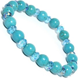 Stretch Bracelet Earth Stone Beads Crystal Turquoise SBR243