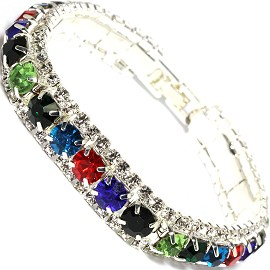 "7"" All Rhinestone Bracelet White Silver Tone Multi Color SBR254"