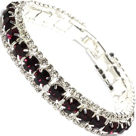 "7"" All Rhinestone Bracelet White Silver Tone Dark Purple SBR256"