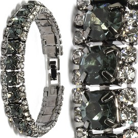 "7"" All Rhinestone Bracelet Dark Gray Metallic Tone SBR279"