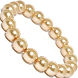 Stretch Bracelet Smooth Bead Light Gold Brass SBR286