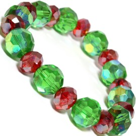 Stretch Bracelet Crystal Circle Oval Cut Green AB Red SBR305
