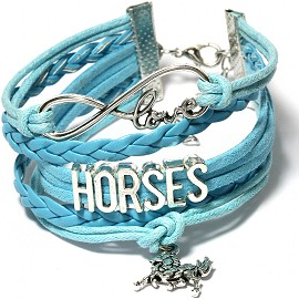 "Wide 7"" to 9"" Inches Bracelet Love Horses Charm Turquoise SBR308"