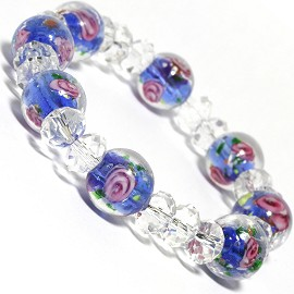 "7"" Stretch Bracelet Glass Rose Crystal Bead Clear Baby Bl SBR328"