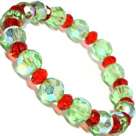"Stretch Bracelet 6.5"" Long 6mm, 8mm Crystal Red Lt Green SBR329"