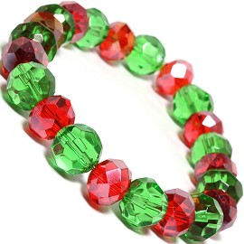 "Stretch Bracelet 6.5"" Oval Round 10mm Crystal Red Green SBR330"
