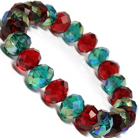 10mm Crystal Bracelet Red Dk Green SBR332