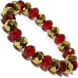 10mm Crystal Bracelet Stretch Solid Gold Maroon Red SBR333