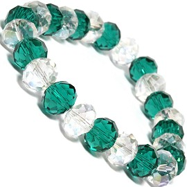 "Stretch Bracelet 6.5"" Long Oval 10mm Crystal Clear Green SBR335"