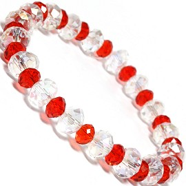 "Stretch Bracelet 6.5"" Long 8mm 6mm Oval Crystal Clear Red SBR339"