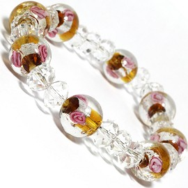 "7"" Stretch Bracelet Glass Rose Crystal Bead Clear Yellow SBR341"