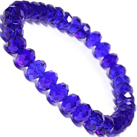 "Stretch Bracelet 6.5"" Long 8x6mm Oval Crystal Dark Blue SBR342"