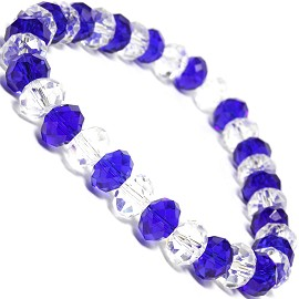"Stretch Bracelet 6.5"" Long 8x6mm Oval Crystal Clear Blue SBR343"