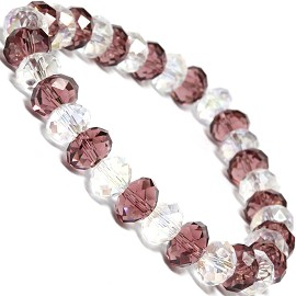 "Stretch Bracelet 6.5"" Long 8mm Oval Crystal Clear Purple SBR345"
