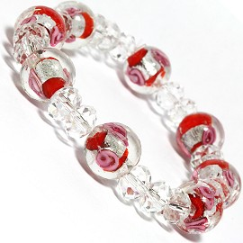 "7"" Stretch Bracelet Glass Rose Crystal Bead Clear Red SBR346"