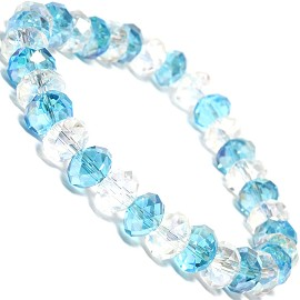 "Stretch Bracelet 6.5"" Oval 8mm Crystal Clear Turquoise SBR352"