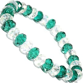 "Stretch Bracelet 6.5"" Oval 8x6mm Crystal Clear Teal Green SBR354"