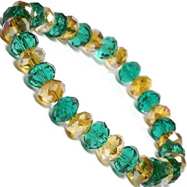 8mm Crystal Bracelet Stretch Lt Gold Green SBR357