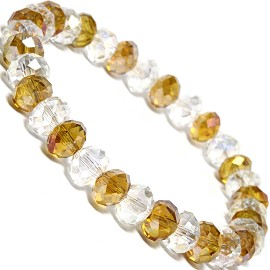 "Stretch Bracelet 6.5"" Oval 8x6mm Crystal Clear AB Gold SBR358"
