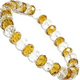 "Stretch Bracelet 6.5"" Oval 8x6mm Crystal Clear Gold SBR359"