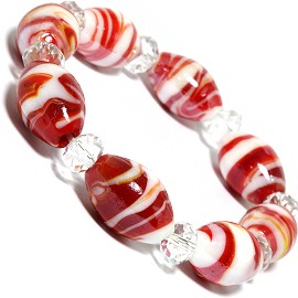 "7"" Glass Crystal Oval Bead Stretch Bracelet White Red Cl SBR363"
