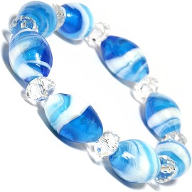 "7"" Glass Crystal Oval Bead Stretch Bracelet White Turquoi SBR366"