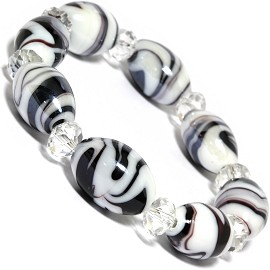 "7"" Glass Crystal Oval Bead Stretch Bracelet White Black C SBR367"