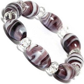 "7"" Glass Crystal Oval Bead Stretch Bracelet White Purple SBR368"
