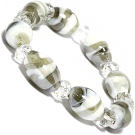 "7"" Glass Crystal Oval Bead Stretch Bracelet White Gray SBR370"
