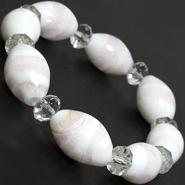 "7"" Glass Crystal Oval Bead Stretch Bracelet White Lt Pink SBR371"