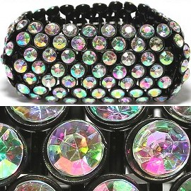 Rhinestone 36mm Wide Stretch Bracelet Black Aura Multi SBR372