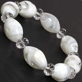 "7"" Glass Crystal Oval Bead Stretch Bracelet White Clear SBR373"
