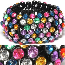 Rhinestone 36mm Wide Stretch Bracelet Black Multi Color SBR374
