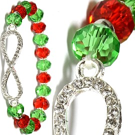 Infinity Rhinestone Stretch Crystal Bracelet Red Green SBR376