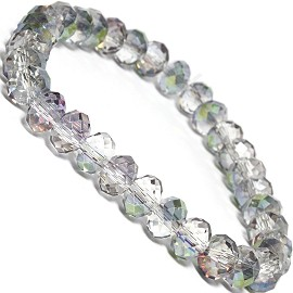 "Stretch Bracelet 6.5"" Oval 8x6mm Crystal AB Gray Clear SBR378"