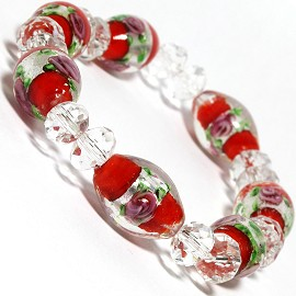 "7"" Stretch Bracelet Glass Rose Crystal Bead Oval ClearRed SBR383"