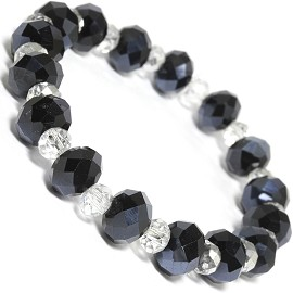 Stretch Bracelet Beads Crystal Cut Oval Black Clear SBR390