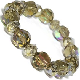 Stretch Bracelet Beads Crystal Oval Round AB Tan SBR395