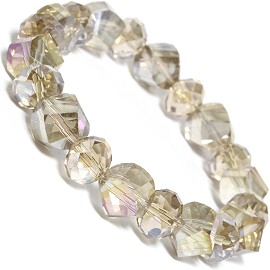 Stretch Bracelet Beads Crystal Cut Oval AB Light Tan SBR398