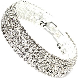 "Rhinestone Bracelet Wide 7.5"" Long, 14mm, Silver Tone SBR403"