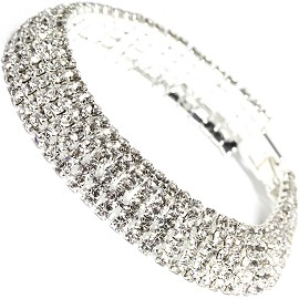 "Rhinestone Bracelet Wide 7.5"" Long, 12mm, Silver Tone SBR404"