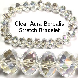 8mm Crystal Bracelet Stretch Clear Aura Borealis SBR405