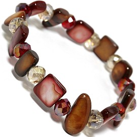 "Stretch Bracelet 6"" Crystal Rectangle Stone Brown Red Tan SBR408"