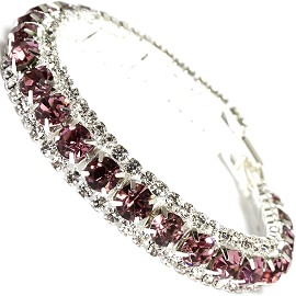"Rhinestone Bracelet Wide 7.25"" Long, 11mm, Silver Purple SBR415"