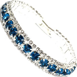 "Rhinestone Bracelet Wide 7.25"" Long 11mm Silver Teal Blue SBR417"