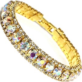 "Rhinestone Bracelet Wide 7.25"" Long, 11mm, AB Gold Tone SBR419"