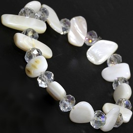 "Stretch Bracelet 6"" Crystal Rectangle Stone Clear White SBR423"