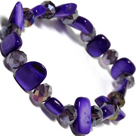 "Stretch Bracelet 6"" Crystal Rectangle Stone Clear Purple SBR426"